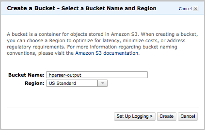 Create a Bucket - Select a Bucket Name and Region