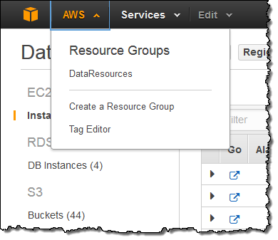 resource groups menu