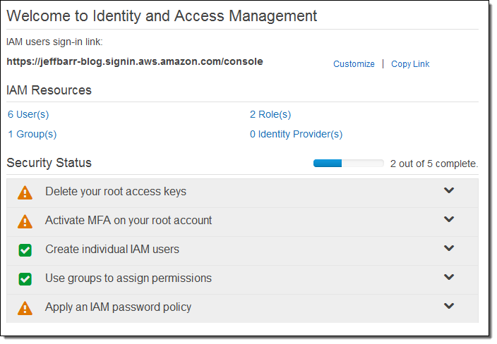 Updated IAM Console | AWS News Blog