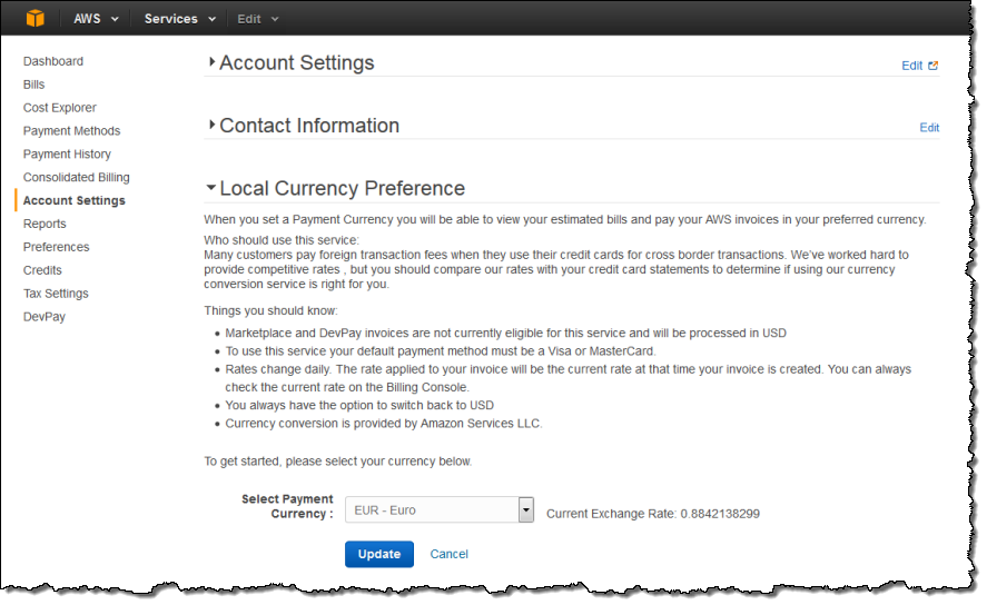 New – Set Preferred Payment Currency for your AWS Account | AWS News