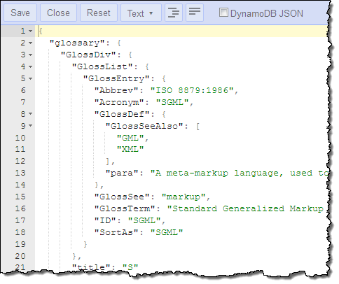 today we are adding support for adding editing and display documents in native json format heres what the data from the example above looks like in this