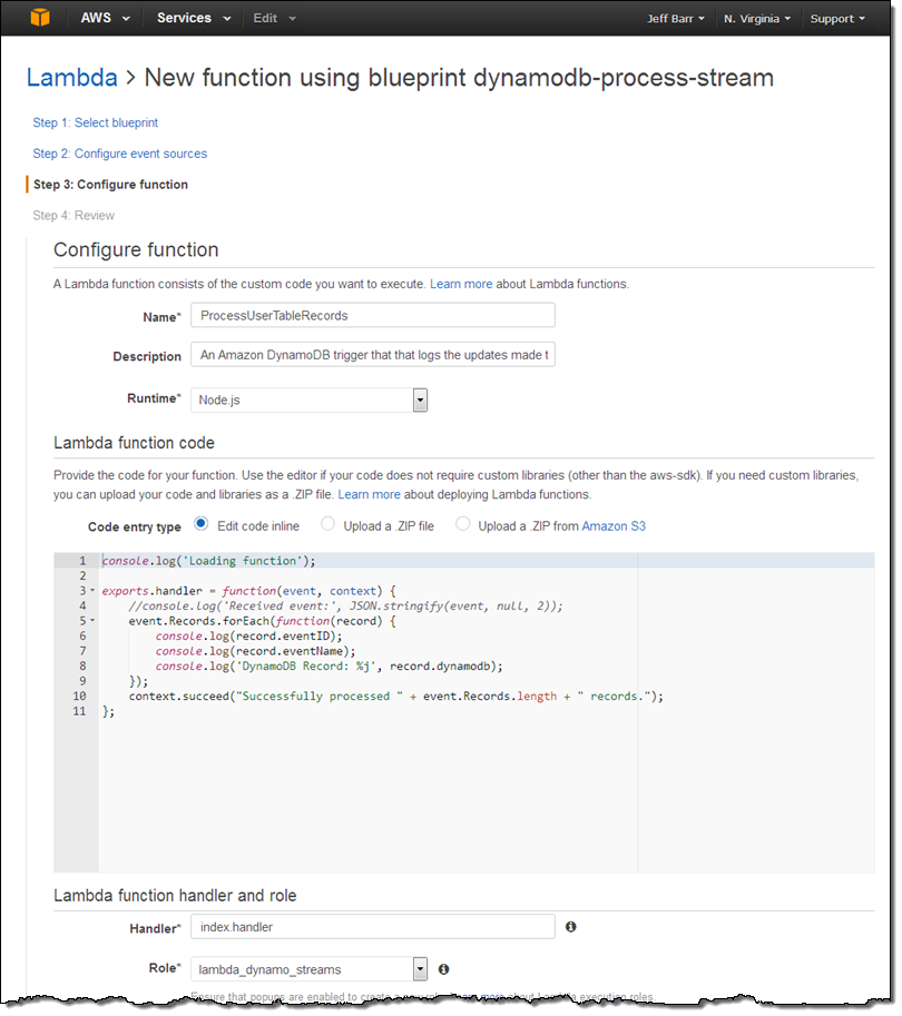 Dynamodb update triggers streams lambda cross region the blueprint includes a function that i can use as is for testing purposes i simply give it a name processusertablerecords and choose an iam role so malvernweather Gallery