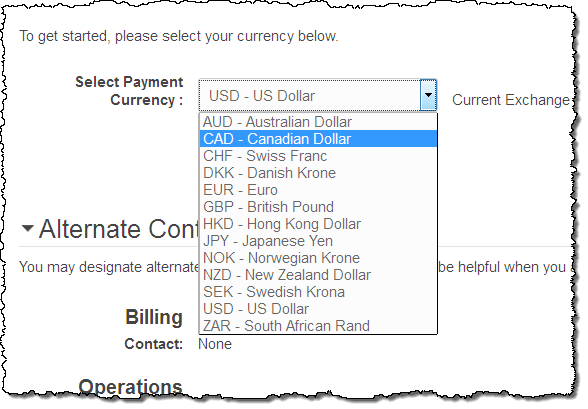 New Preferred Payment Currency For Aws Canadian Dollars Cad