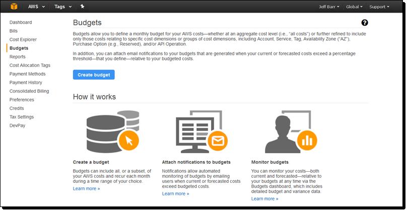 aws 予算の更新 クラウドのコストと使用量 amazon web services ブログ
