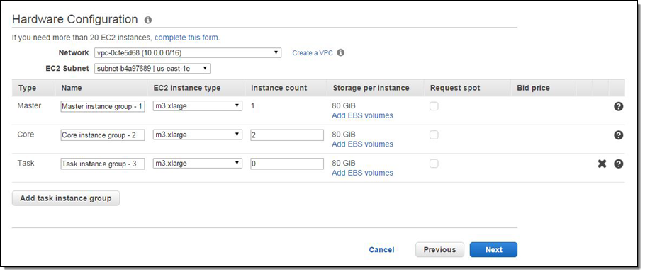 amazon emr update support for ebs volumes and m4 c4 instance