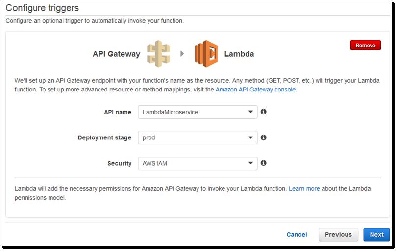 Amazon API Gateway et lambda