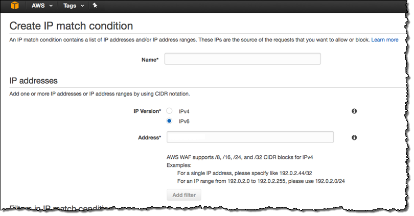 amazon AWS WAF IPv6