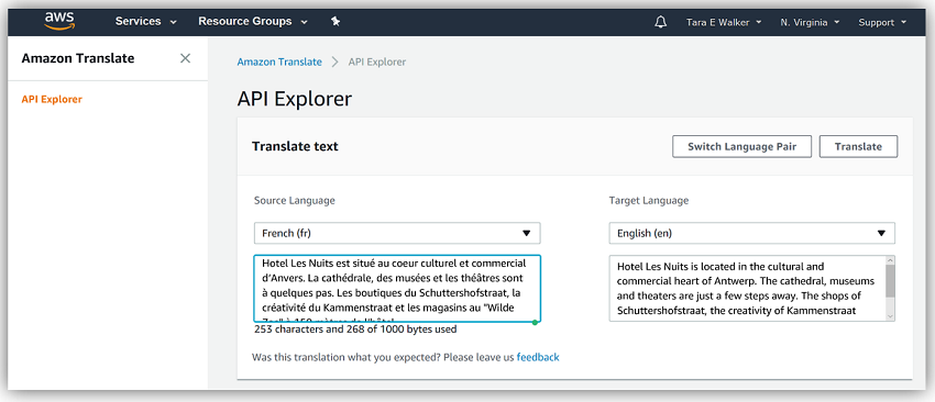 Introducing amazon translate real time language translation aws after pasting the french text from the website into the translate service to translate it to english i was pleasantly surprised to find that the stopboris Choice Image