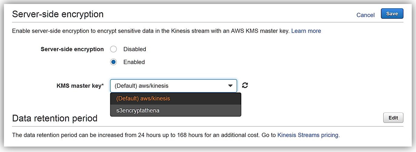Amazon Kinesis Streams 服务器端加密