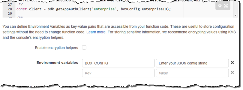 Box platform on aws marketplace lambda blueprints sample code the code in this blueprint retrieves and logs the box user object for the user identified by the credentials malvernweather Choice Image