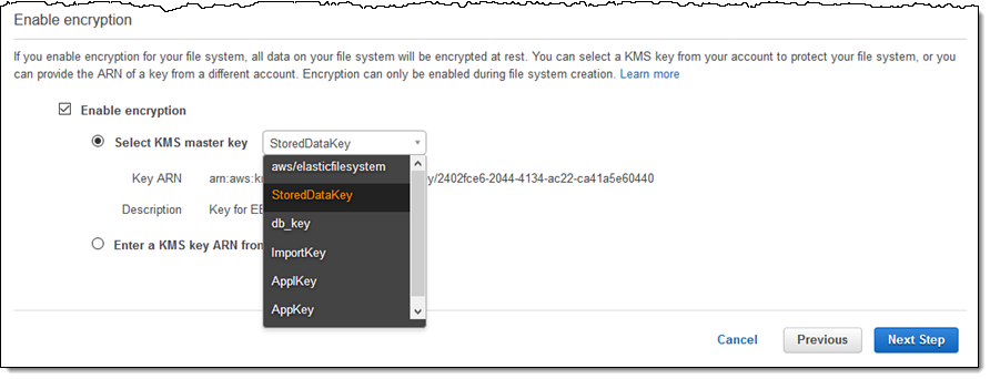 New – Encryption of Data at Rest for Amazon Elastic File