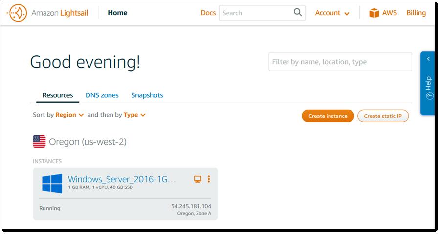 启动并管理 Windows 虚拟专用服务器