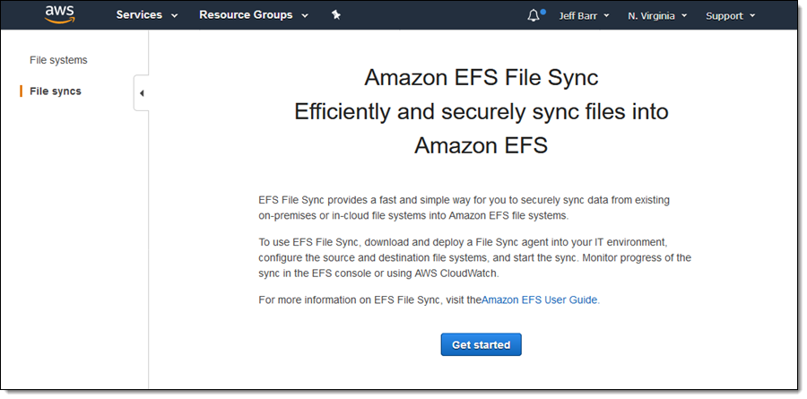 EFS File Sync – Faster File Transfer To Amazon EFS File