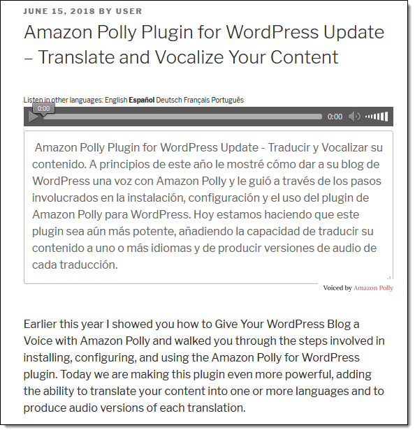 Amazon Polly Plugin for WordPress Update – Translate and
