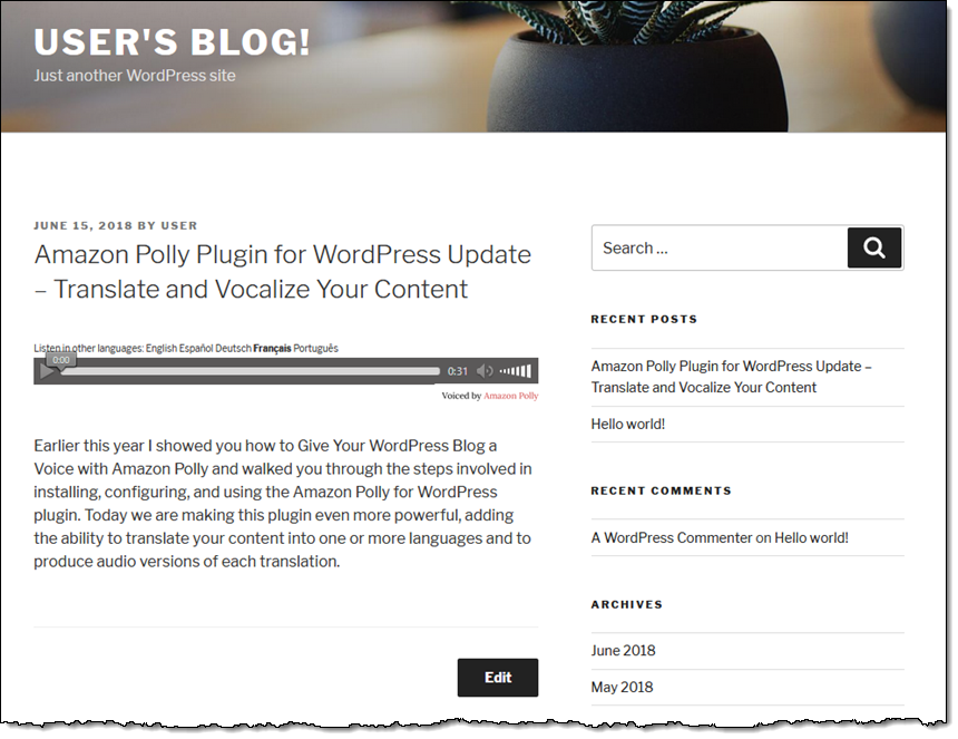 Amazon Polly Plugin for WordPress Update – Translate and Vocalize