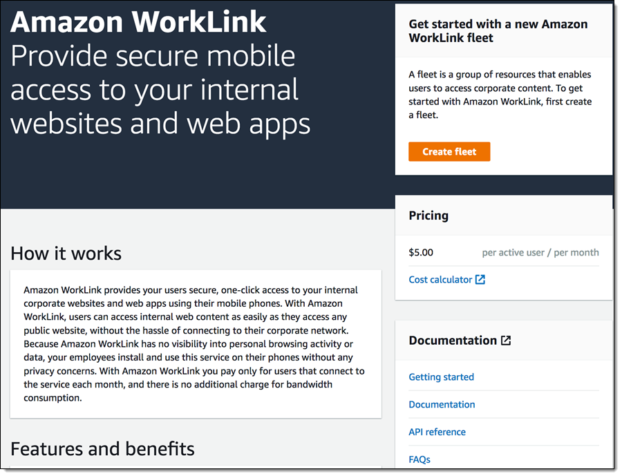 Amazon WorkLink – Secure, One-Click Mobile Access to
