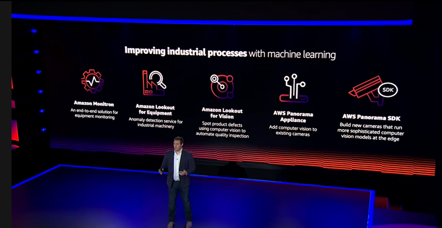 Matt Wood stands in front of slide showing Improving industrial processes with machine learning