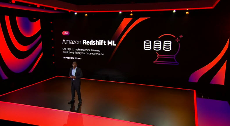 Swami announces Amazon Redshift ML in front of a slide on stage.