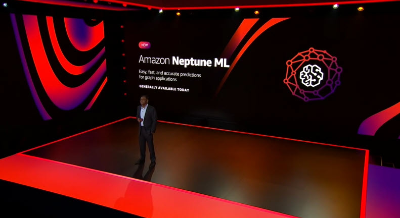 Swami announces Amazon Neptune ML in front of a slide on stage.