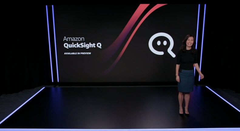 Dorothy Li speaks in front of a slide about Amazon QuickSight Q on stage.