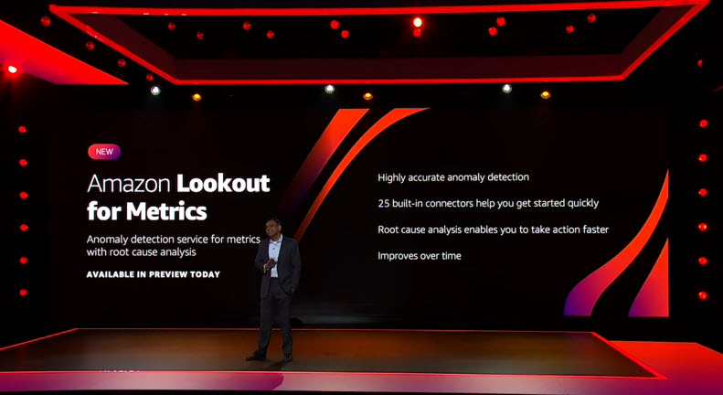 Swami announces Amazon Lookout for Metrics in front of a slide on stage.