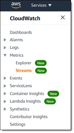 CloudWatch Side Menu (Dashboards, Alarms, Metrics, and more)