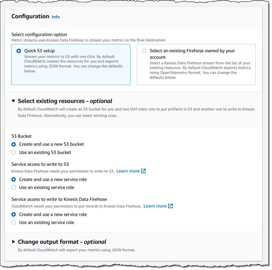 创建指标流 - 用于 S3 存储桶和 IAM 角色的选项