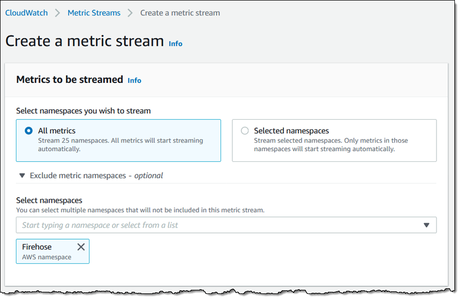 Create a Metric Stream - Part 1, All or Selected