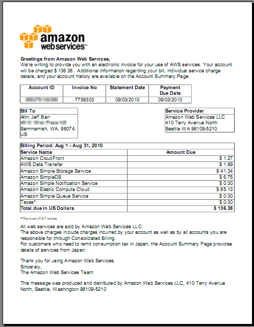 New Download Invoices From Your AWS Account AWS News Blog - Pdf invoice maker everything 1 dollar store online