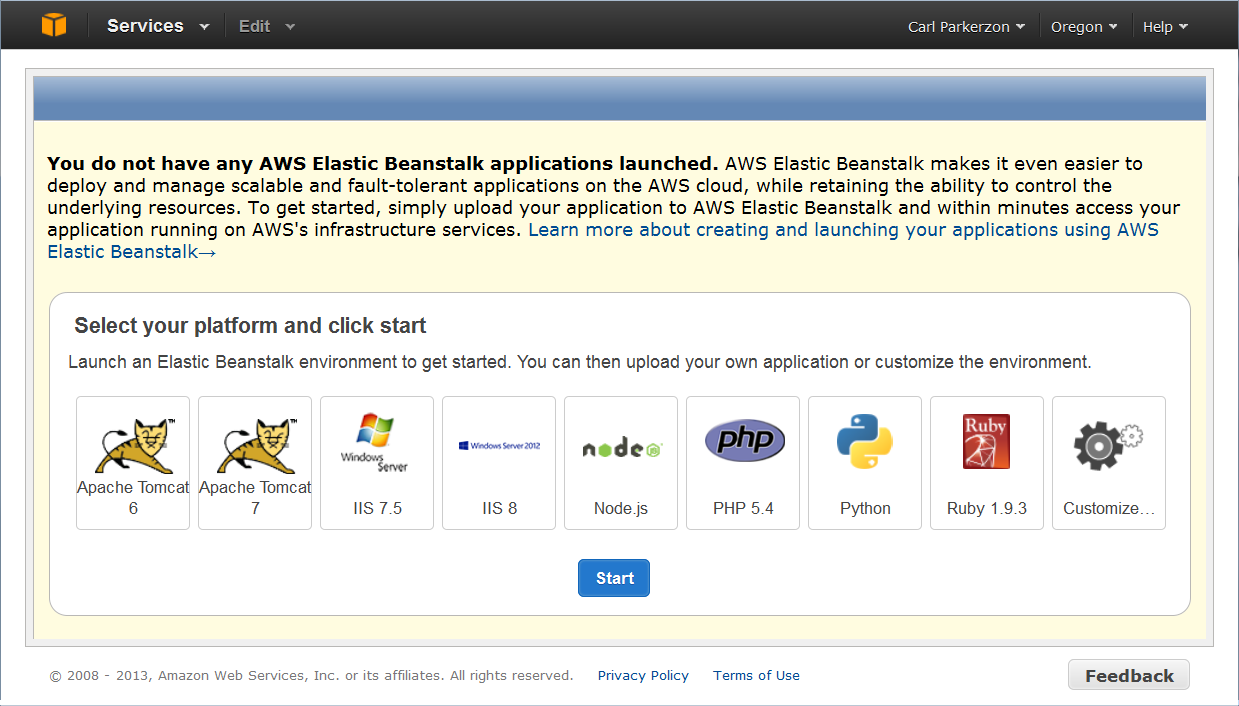 Create Beanstalk Application
