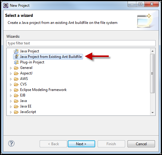 Create a New Java Project from the Ant Build File